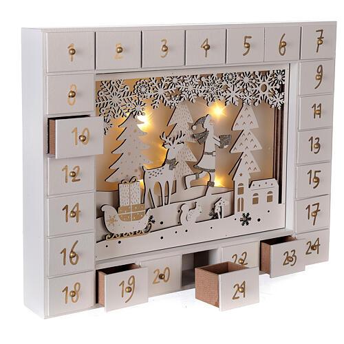 Calendrier Avent bois blanc lumières 27 cm 4