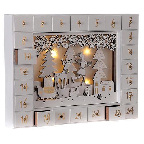 Calendrier Avent bois blanc lumières 27 cm 5