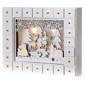 Kalendarz adwentowy drewno biały światła 27 cm s3