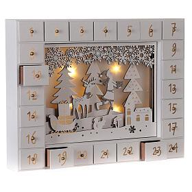 Kalendarz adwentowy drewno biały światła 27 cm s5