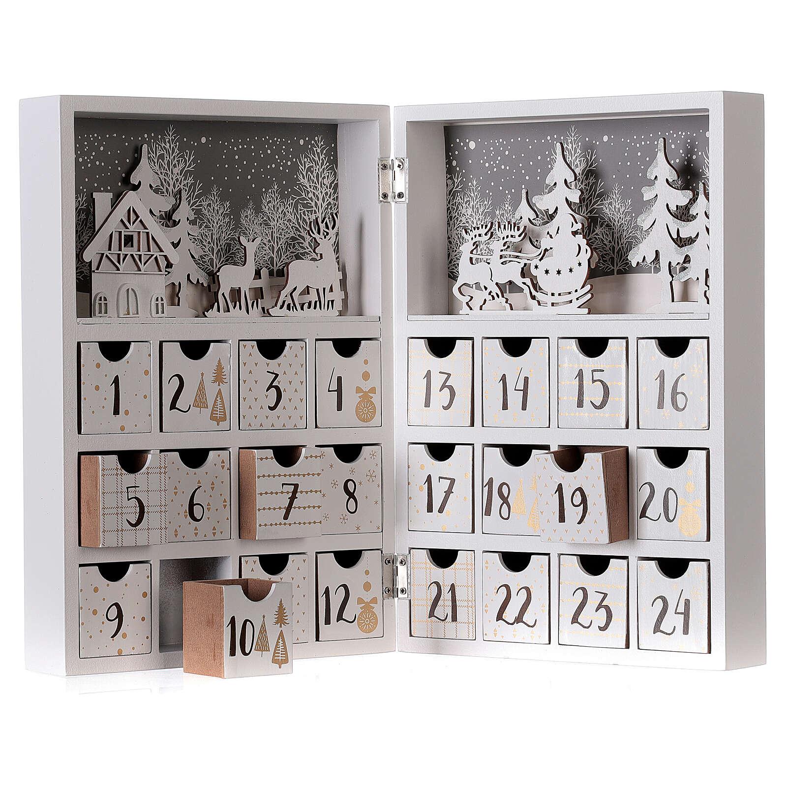 Calendrier Avent pliable bois blanc 30x40 cm 3