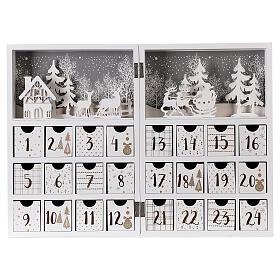 Calendario Avvento pieghevole legno bianco 30x40 cm s1
