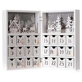 Calendario Avvento pieghevole legno bianco 30x40 cm s5
