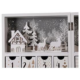Calendario Avvento pieghevole legno bianco 30x40 cm s6