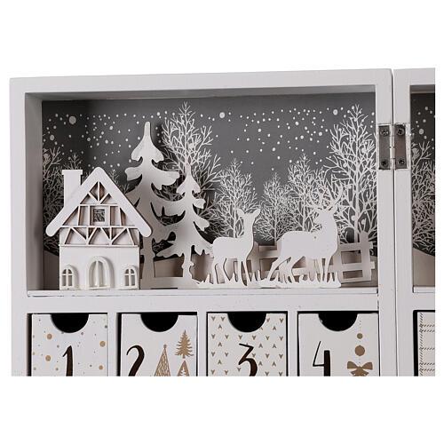 Calendario Avvento pieghevole legno bianco 30x40 cm 6
