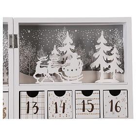 Kalendarz adwentowy składany drewno biały 30x40 cm s3