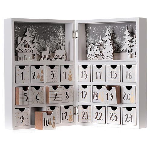 Kalendarz adwentowy składany drewno biały 30x40 cm 2
