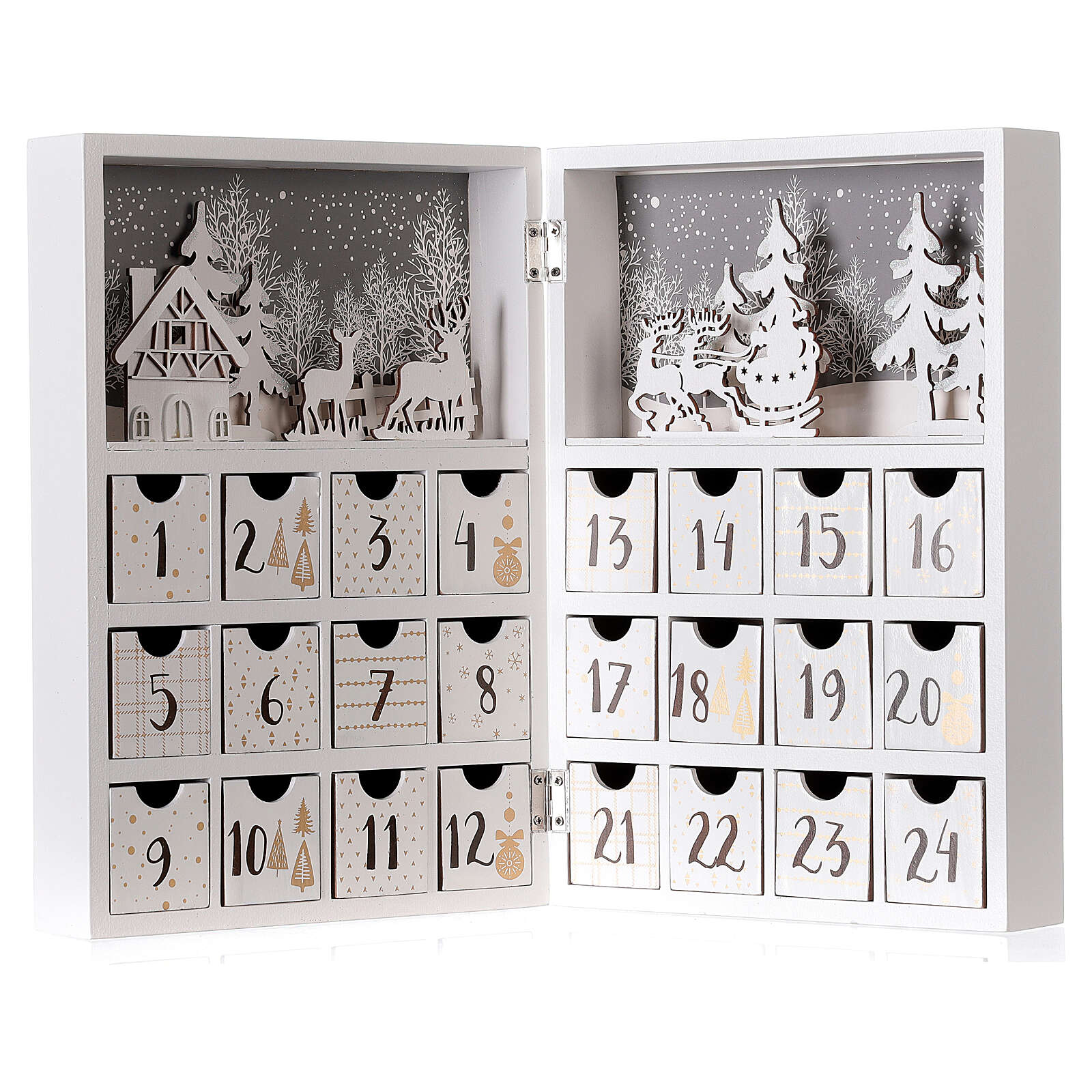 Advent calendar with drawers fold-able white wood 30x40 cm 3