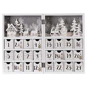 Advent calendar with drawers fold-able white wood 30x40 cm s1