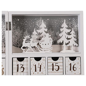 Advent calendar with drawers fold-able white wood 30x40 cm s4