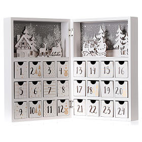 Advent calendar with drawers fold-able white wood 30x40 cm s5