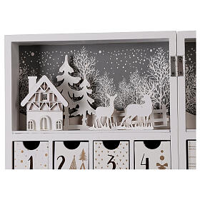 Advent calendar with drawers fold-able white wood 30x40 cm s6