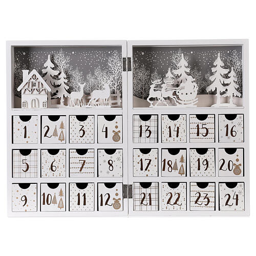 Advent calendar with drawers fold-able white wood 30x40 cm 1