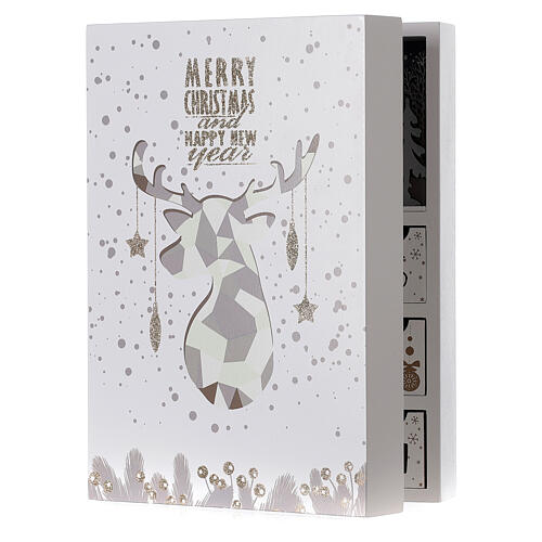 Advent calendar with drawers fold-able white wood 30x40 cm 2