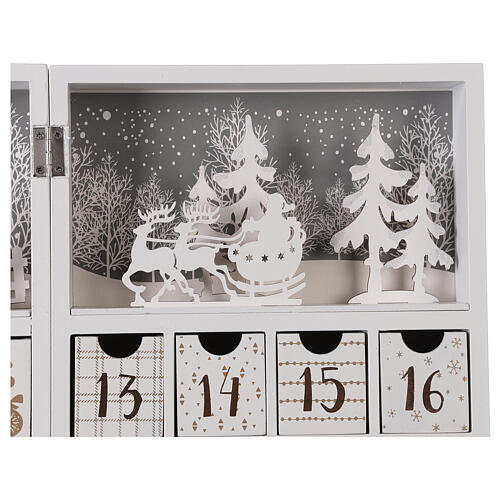 Advent calendar with drawers fold-able white wood 30x40 cm 4