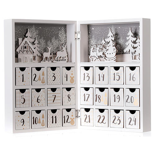 Advent calendar with drawers fold-able white wood 30x40 cm 5