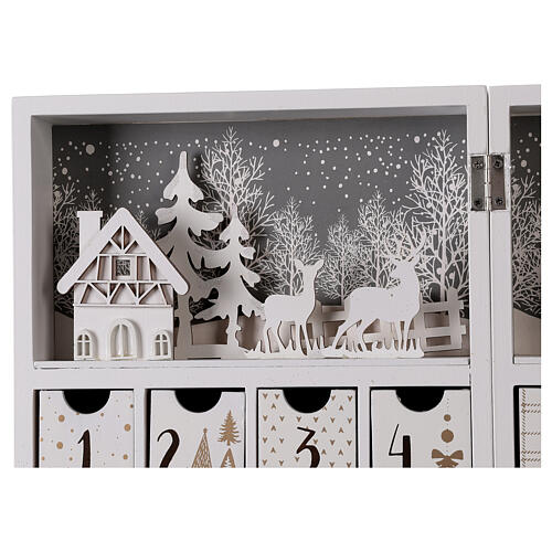 Advent calendar with drawers fold-able white wood 30x40 cm 6