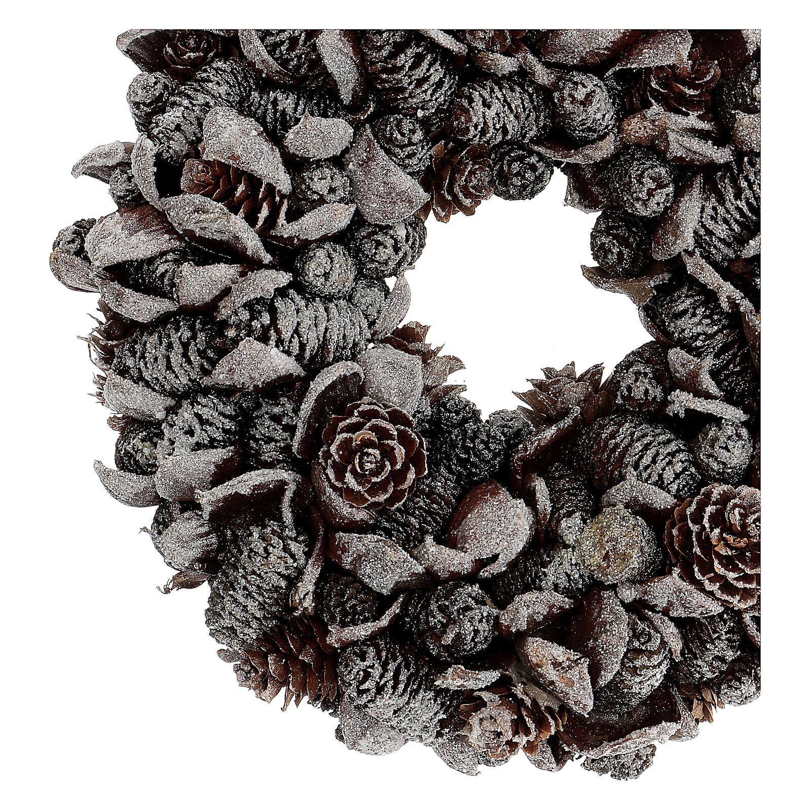Korona adwentowa szyszki brokat srebrny 20 cm 3