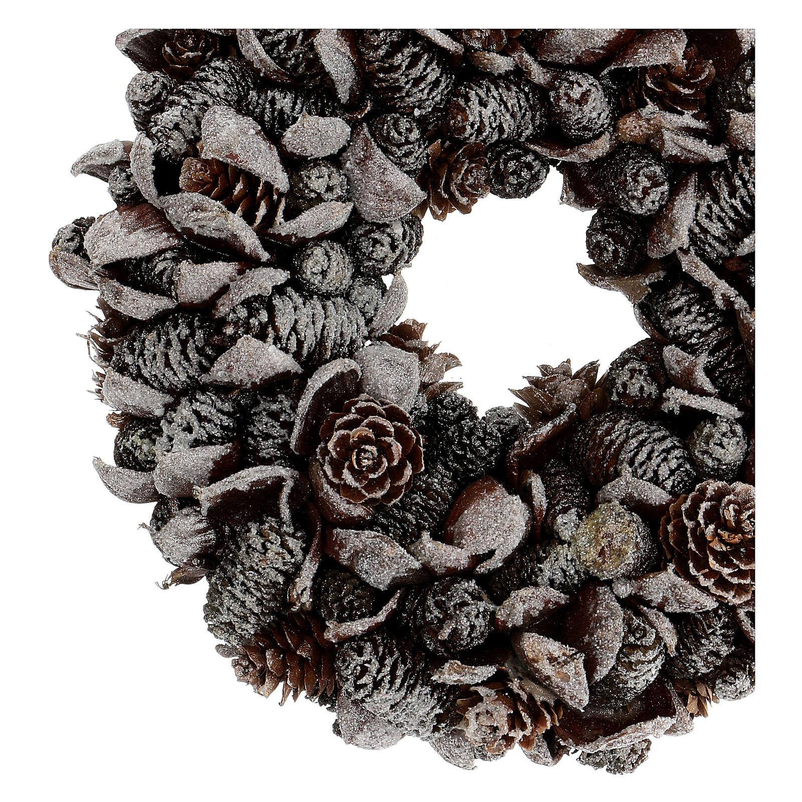 Pine cone Advent wreath silver glitter 20 cm 3