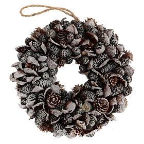 Pine cone Advent wreath silver glitter 20 cm s1