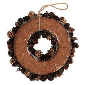 Pine cone Advent wreath silver glitter 20 cm s4