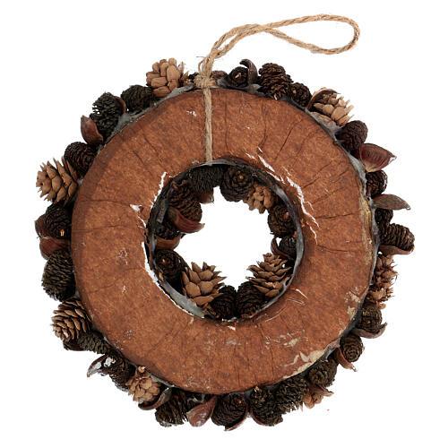 Pine cone Advent wreath silver glitter 20 cm 4