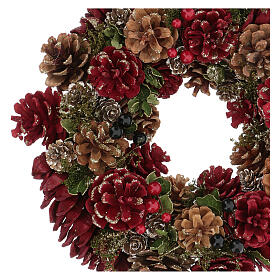 Advent wreath in red with pine cones, berries and gold glitter decorations, diameter 30 cm s2