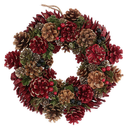 Advent wreath in red with pine cones, berries and gold glitter decorations, diameter 30 cm 1