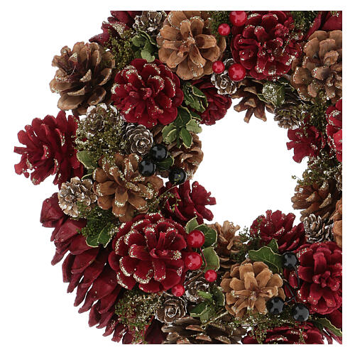 Advent wreath in red with pine cones, berries and gold glitter decorations, diameter 30 cm 2