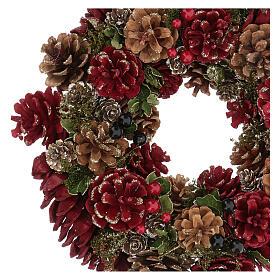 Couronne Avent rouge paillettes or pommes de pin et baies 30 cm s2