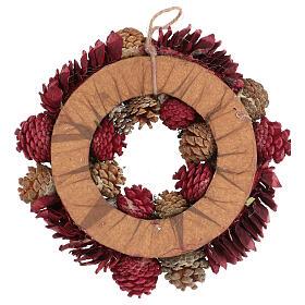Couronne Avent rouge paillettes or pommes de pin et baies 30 cm s4