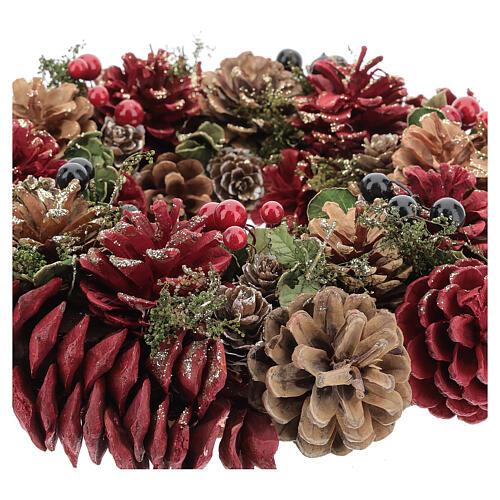 Korona adwentowa czerwona brokat złoty szyszki jagody 30 cm 3