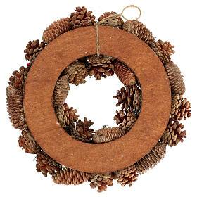 Korona adwentowa ośnieżona szyszki jagody 36 cm s4
