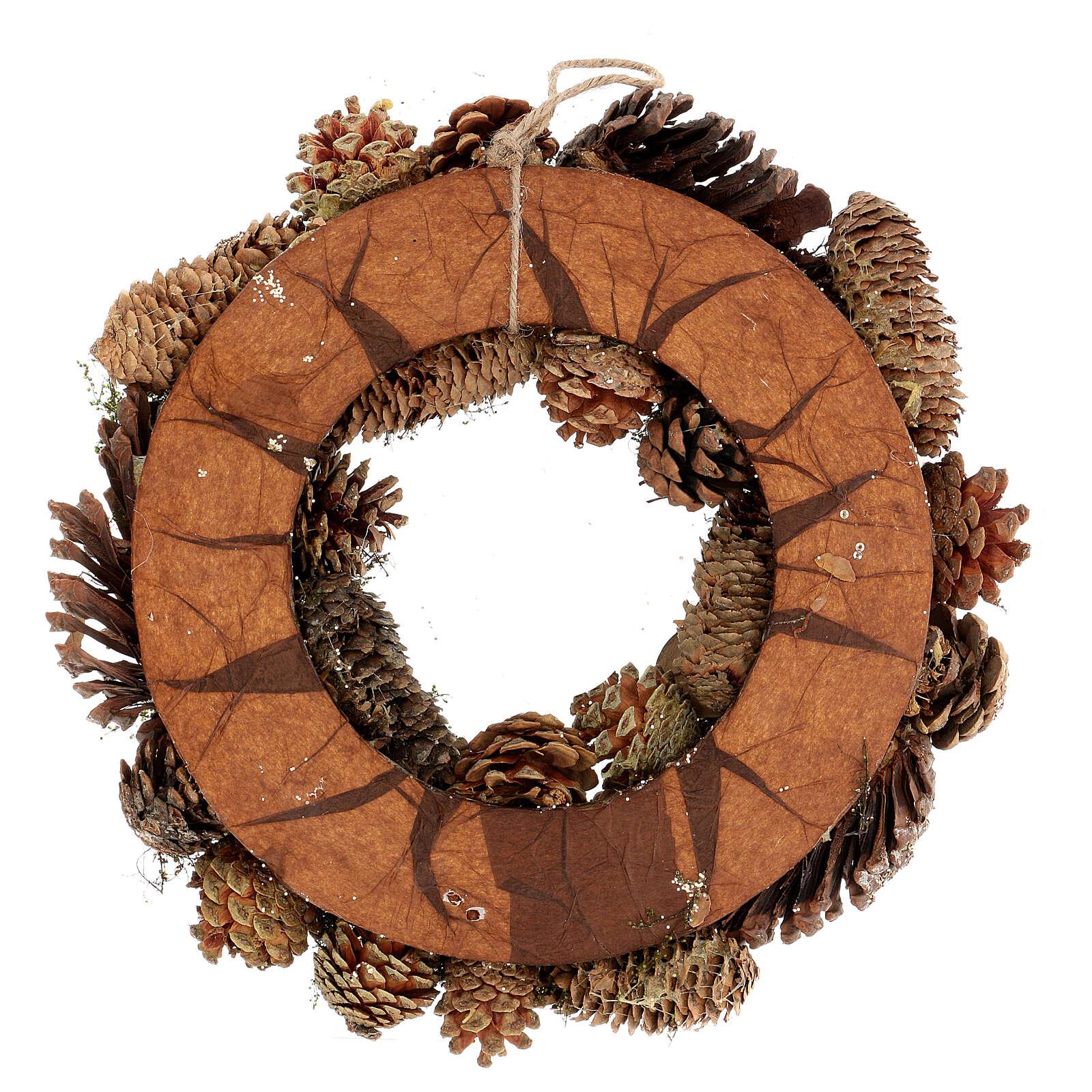 Korona adwentowa z szyszkami jagodami gwiazdami brokatem 36 cm 3