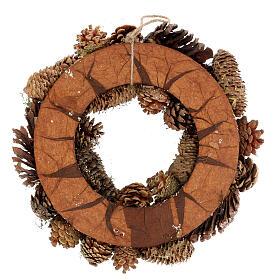 Korona adwentowa z szyszkami jagodami gwiazdami brokatem 36 cm s4