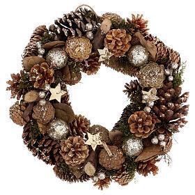 Advent wreath with pine cones berries stars glitter 36 cm s1