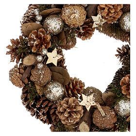 Advent wreath with pine cones berries stars glitter 36 cm s2