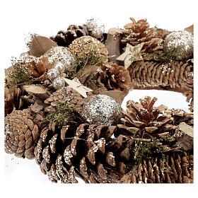 Advent wreath with pine cones berries stars glitter 36 cm s3
