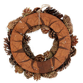 Advent wreath with pine cones berries stars glitter 36 cm s4