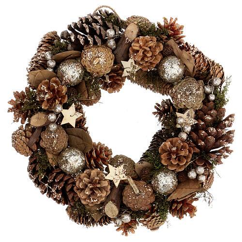 Advent wreath with pine cones berries stars glitter 36 cm 1