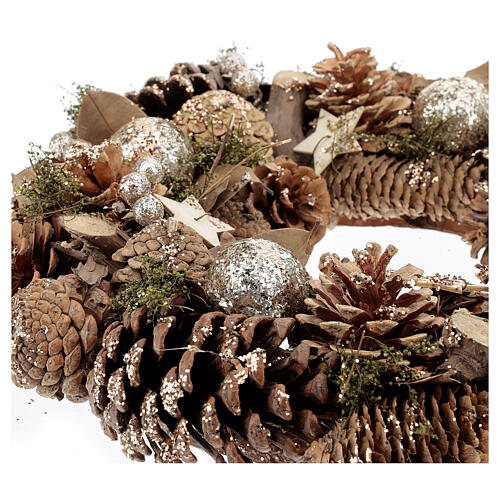 Advent wreath with pine cones berries stars glitter 36 cm 3