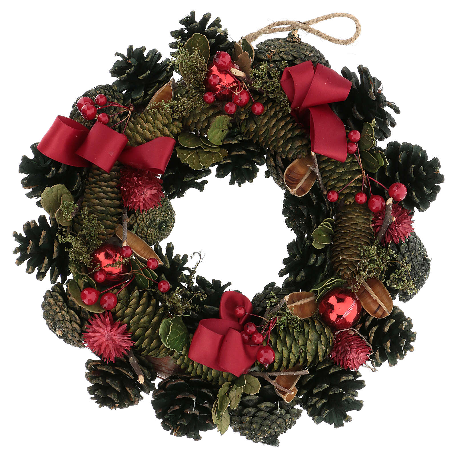 Advent wreath with red ribbons, berries and cones, diameter 30 cm 3