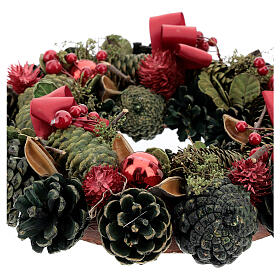 Advent wreath with red ribbons, berries and cones, diameter 30 cm s3