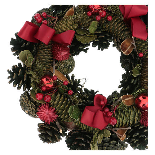 Advent wreath with red ribbons, berries and cones, diameter 30 cm 2