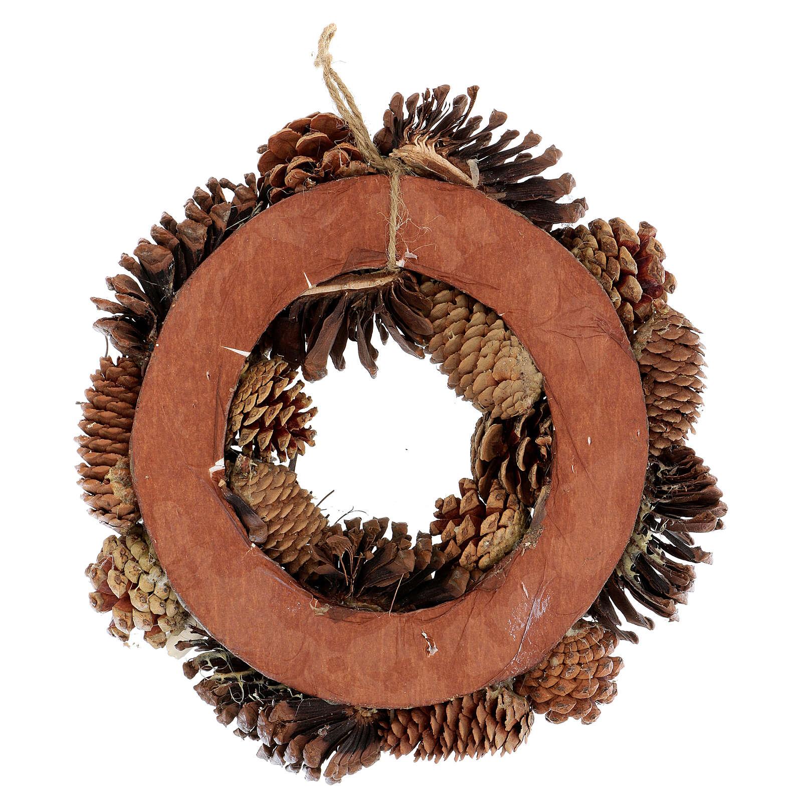 Couronne Avent avec pommes de pin étoiles et paillettes 30 cm 3