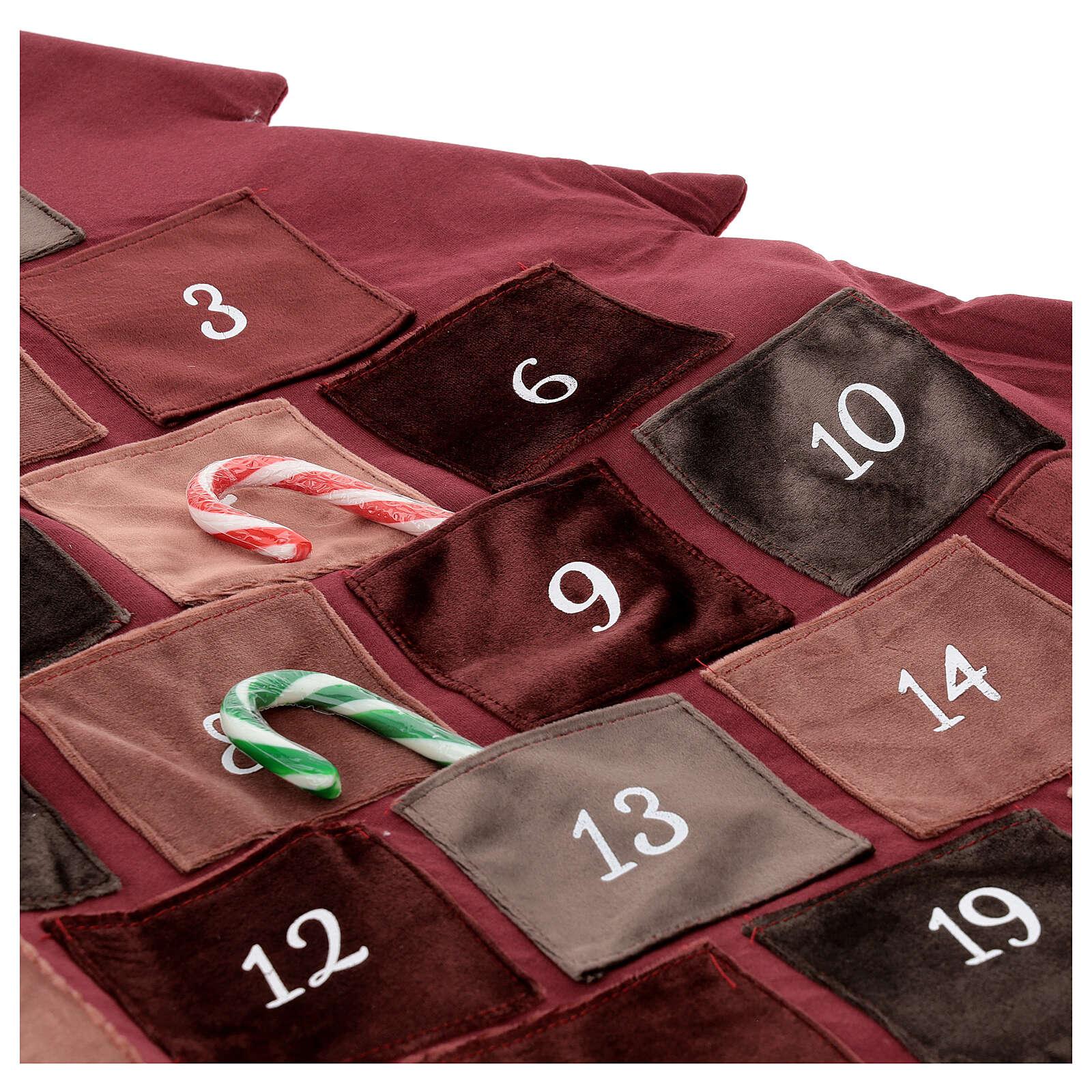 Kalendarz adwentowy Choinka bordowa 85 cm 3