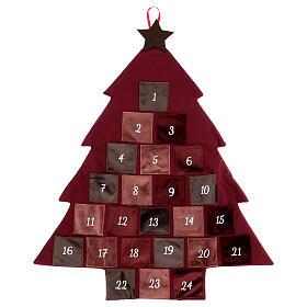 Kalendarz adwentowy Choinka bordowa 85 cm s1