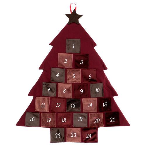 Kalendarz adwentowy Choinka bordowa 85 cm 1