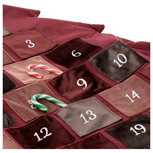 Kalendarz adwentowy Choinka bordowa 85 cm 2