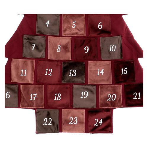 Kalendarz adwentowy Choinka bordowa 85 cm 4